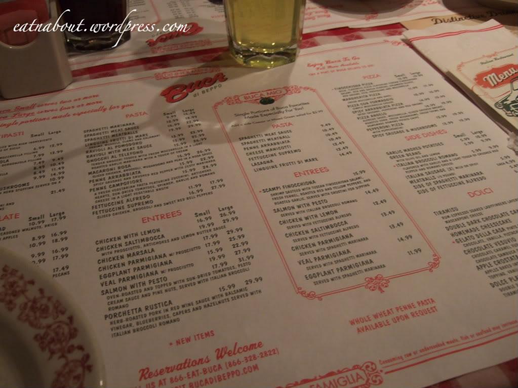 Buca di BEPPO menu
